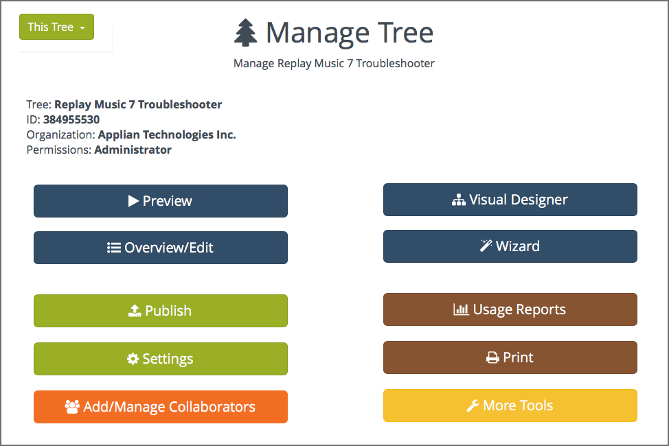 Manage script tree