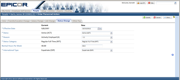 Epicor HCM - Track request status