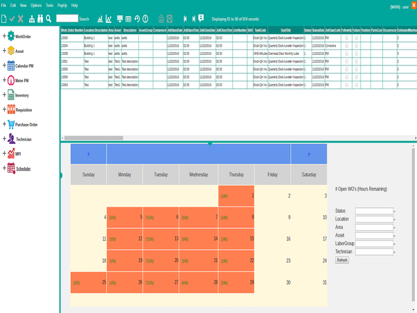 Scheduler screen
