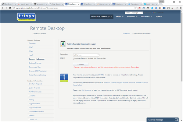 Remote desktop browser