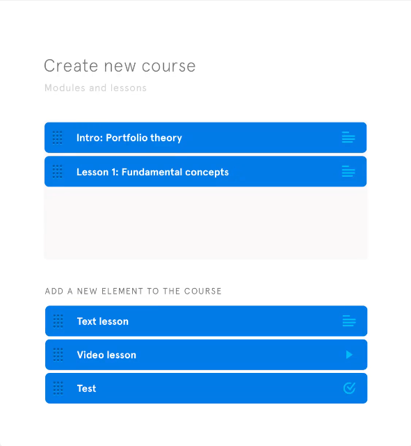 Course builder wizard