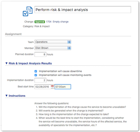Risk and impact analysis