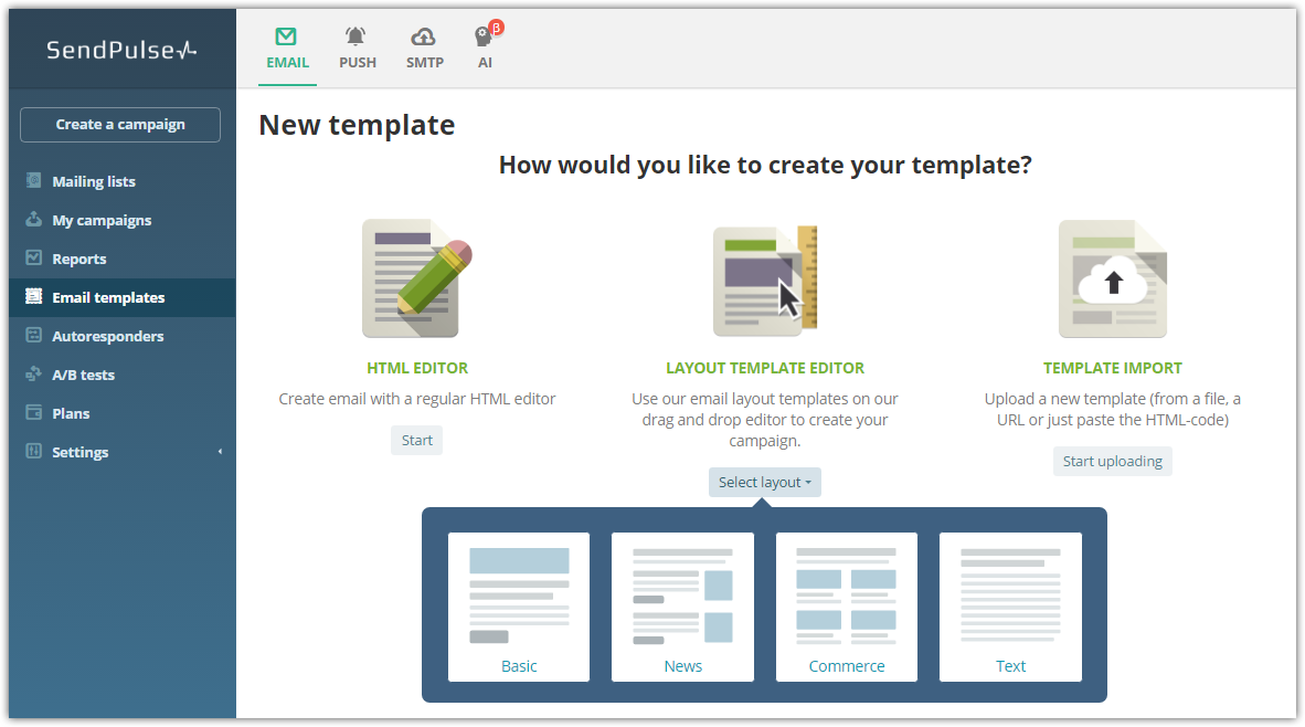 Email template editor