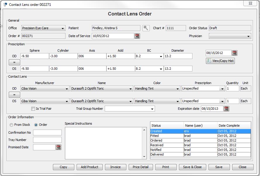 Contact lens order
