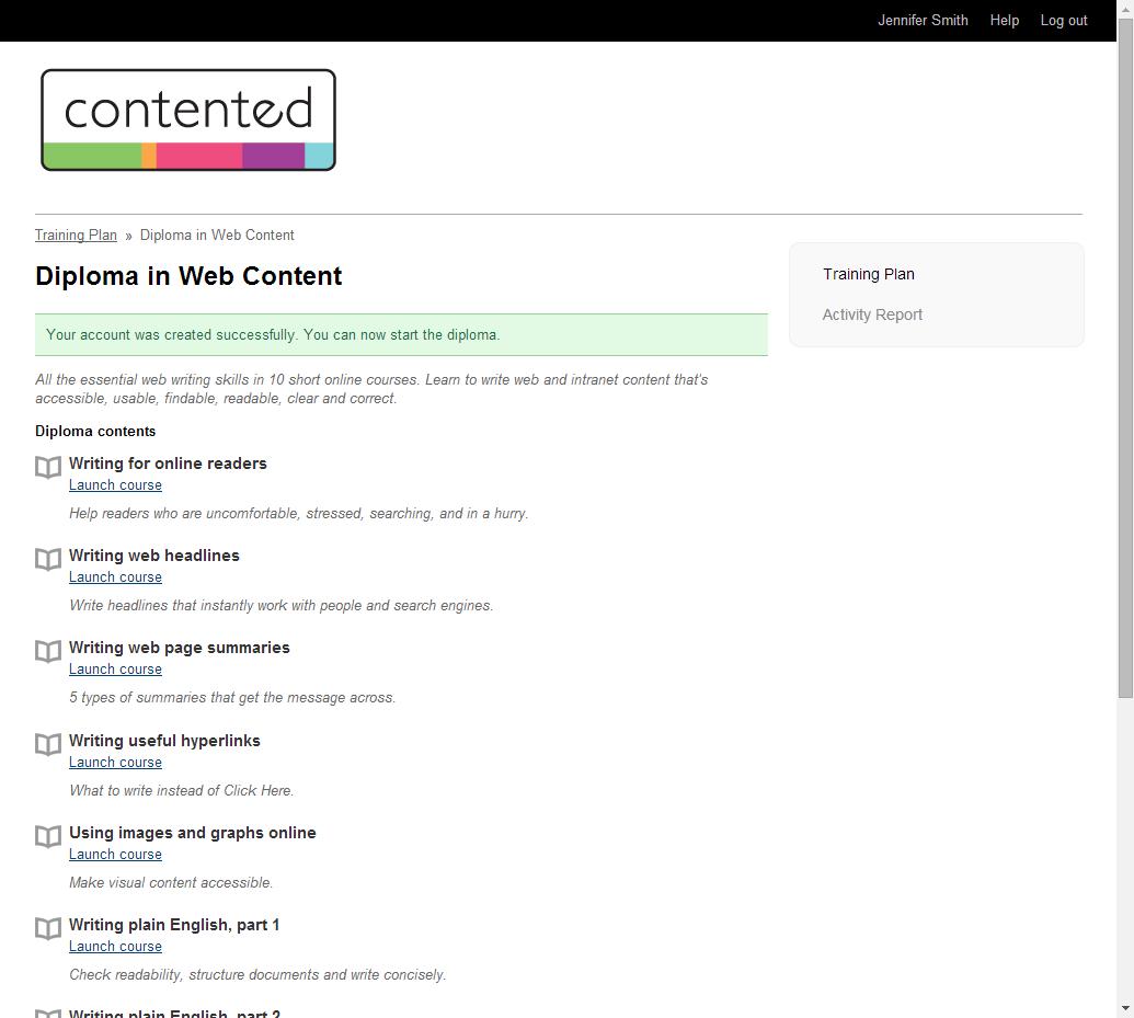 Course participant interface