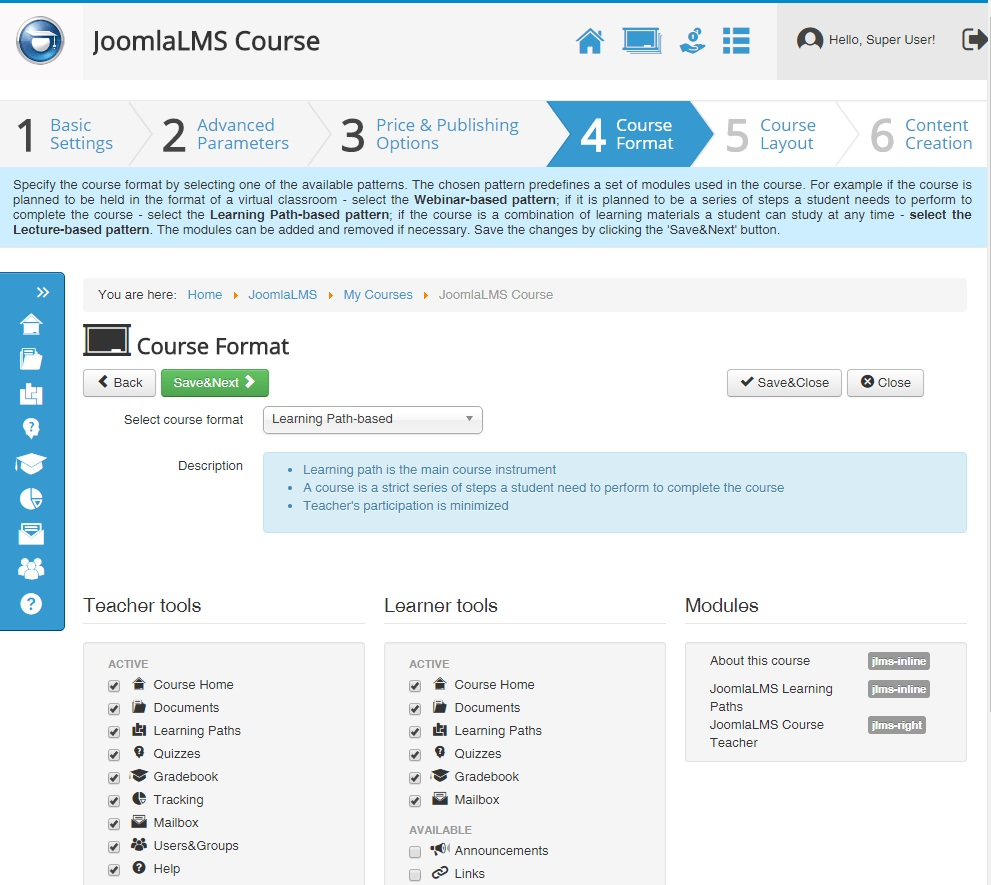JoomlaLMS - Course format