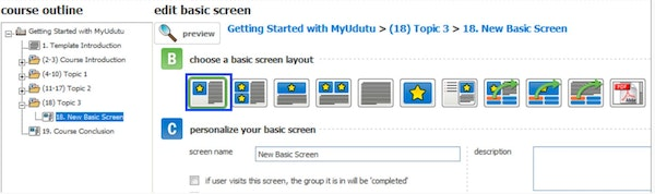 Choose screen layout