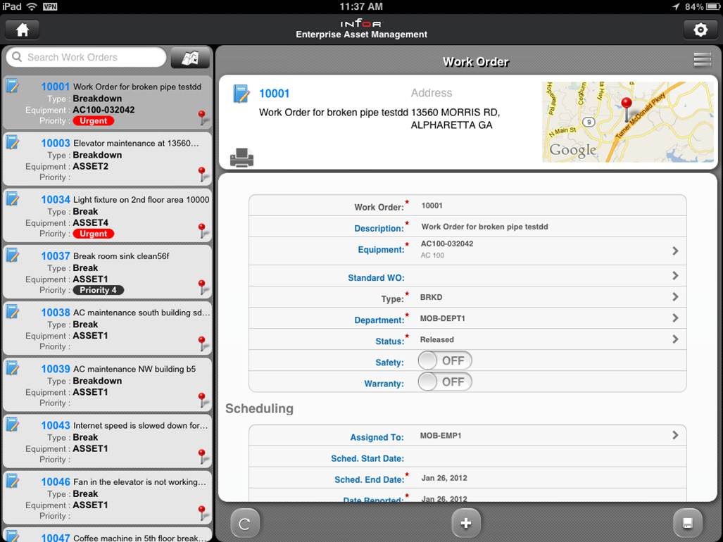 Infor EAM for iPad