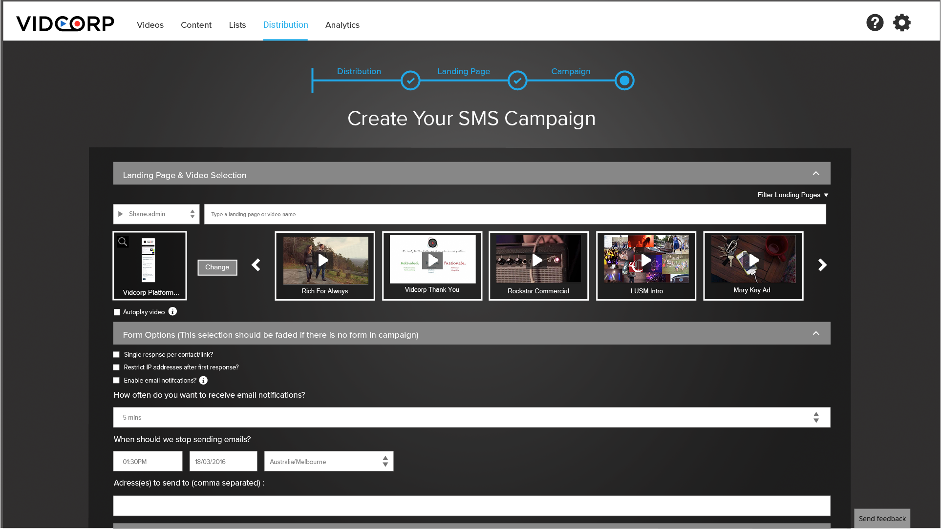 Create SMS campaign