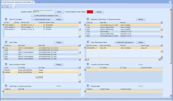 Quality assurance supplier portal