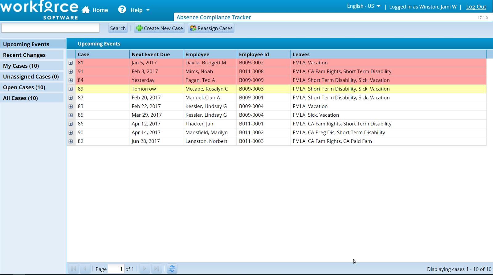 Absence compliance tracker