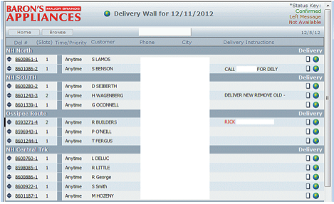 Delivery wall