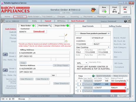 Customer service screen