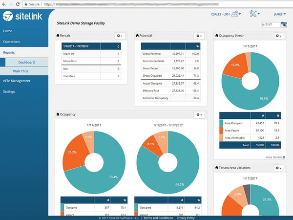 SiteLink myHub report dashboard