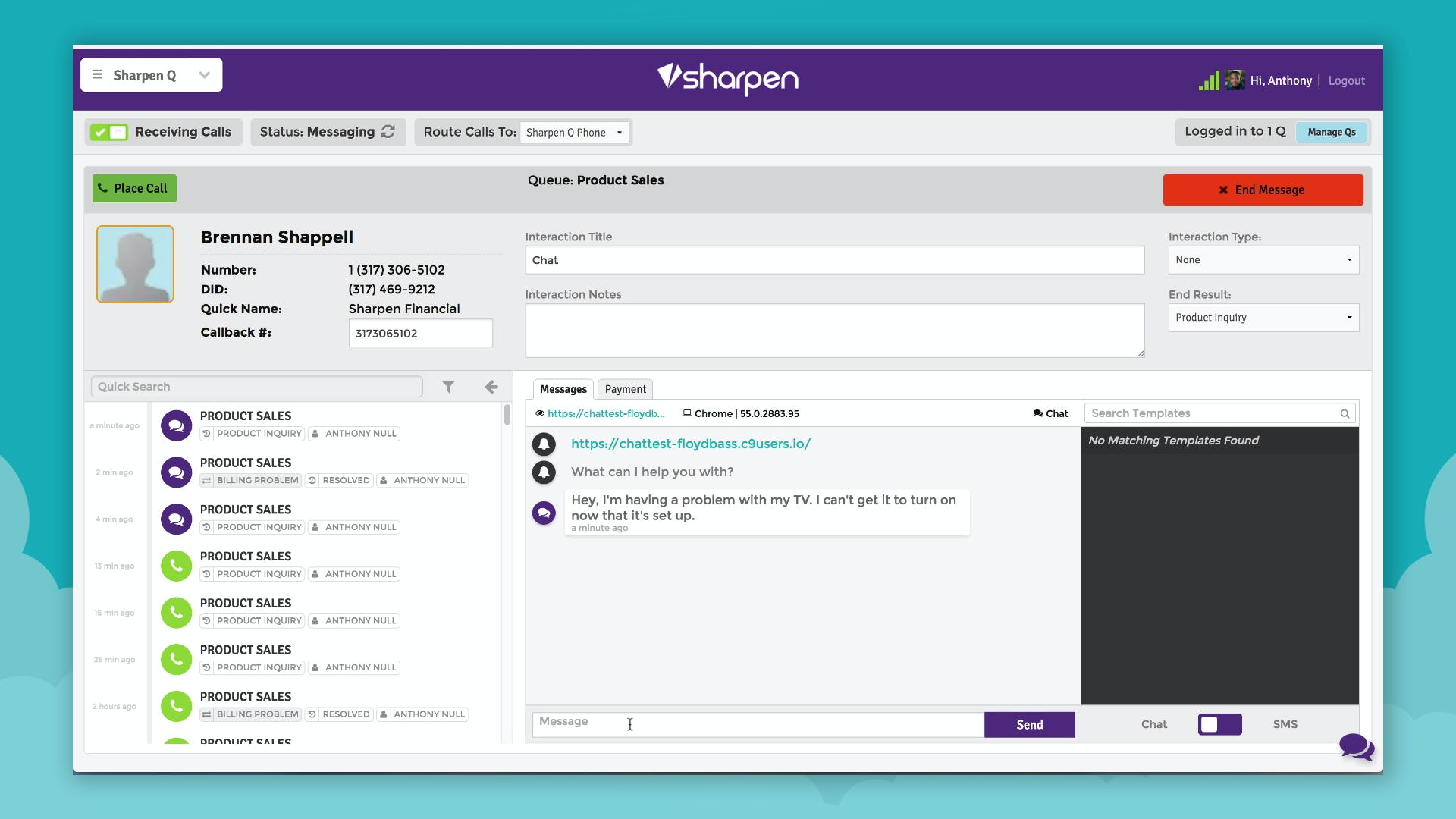 Sharpen - Caller dashboard