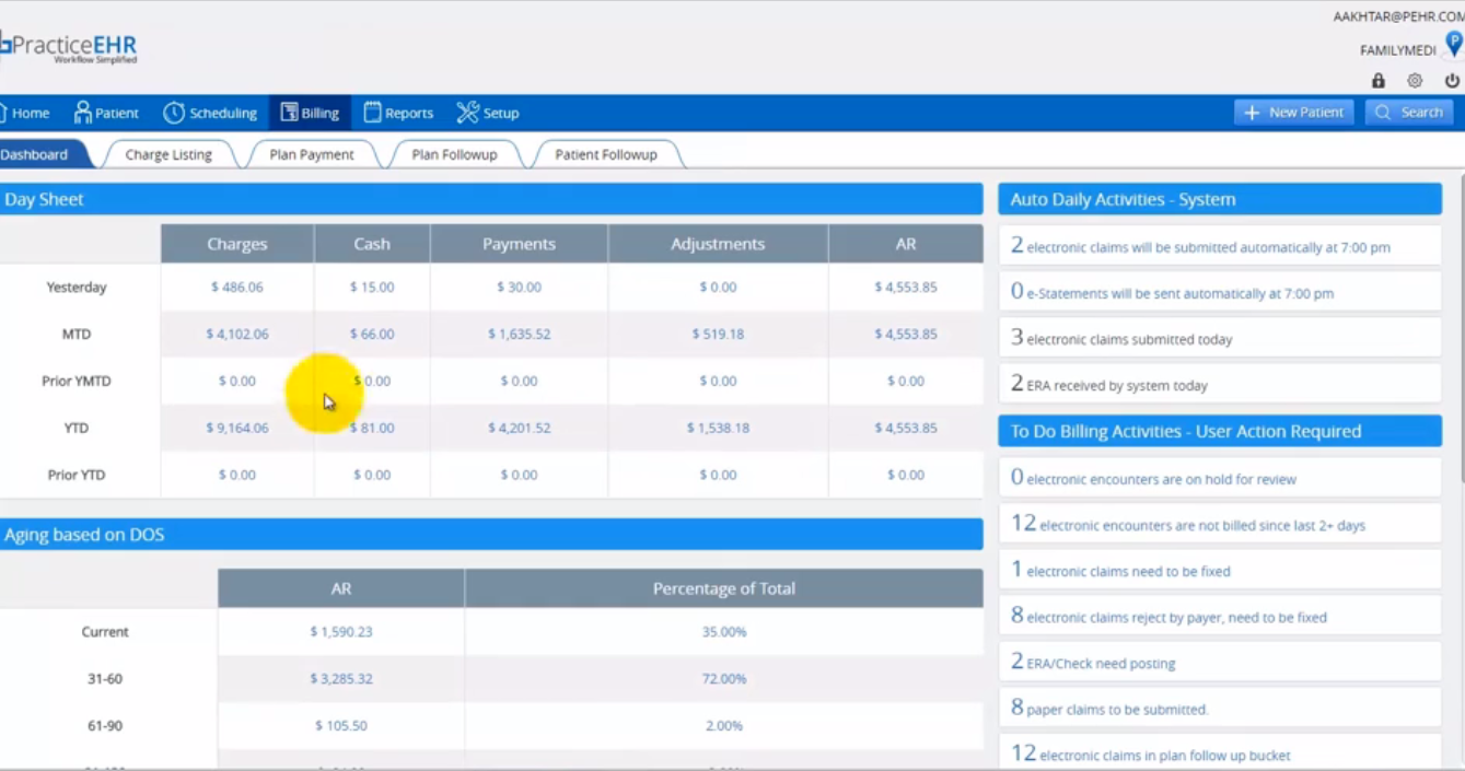 Practice EHR - Billing dashboard