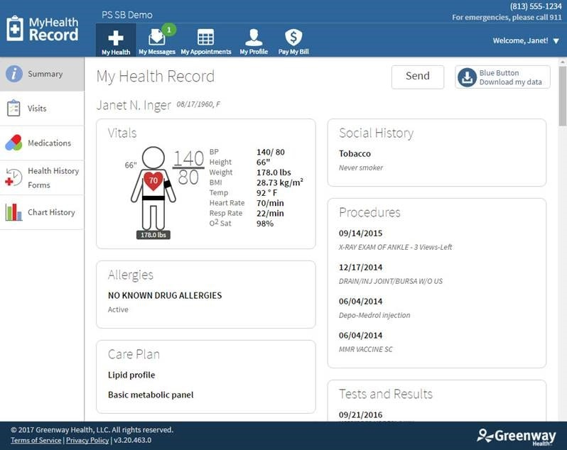 Greenway Health Prime Suite - Patient dashboard