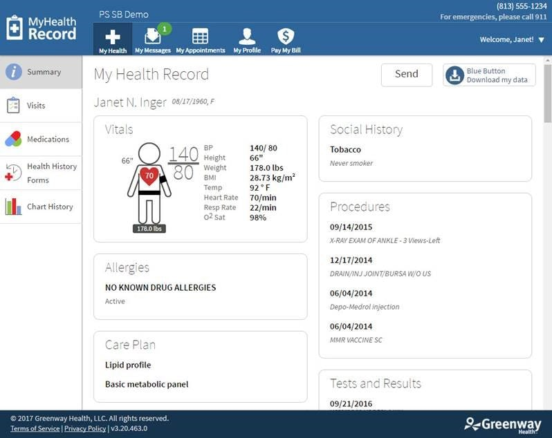 Greenway Health Prime Suite - Patient dashboard