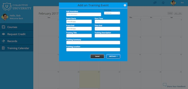 Add training events