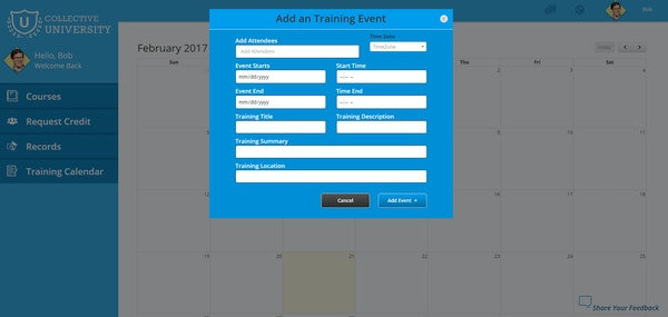 Add training events