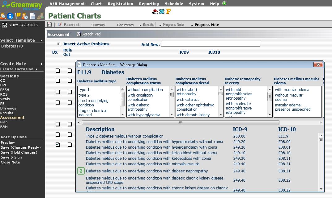 Greenway Health Prime Suite - Diagnosis modifier search
