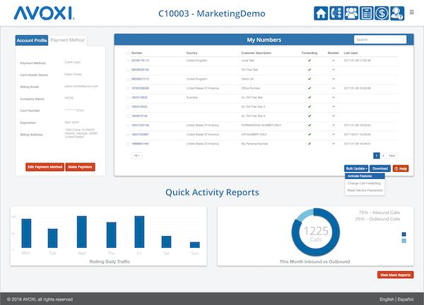 Avoxi Core Cloud PBX account information