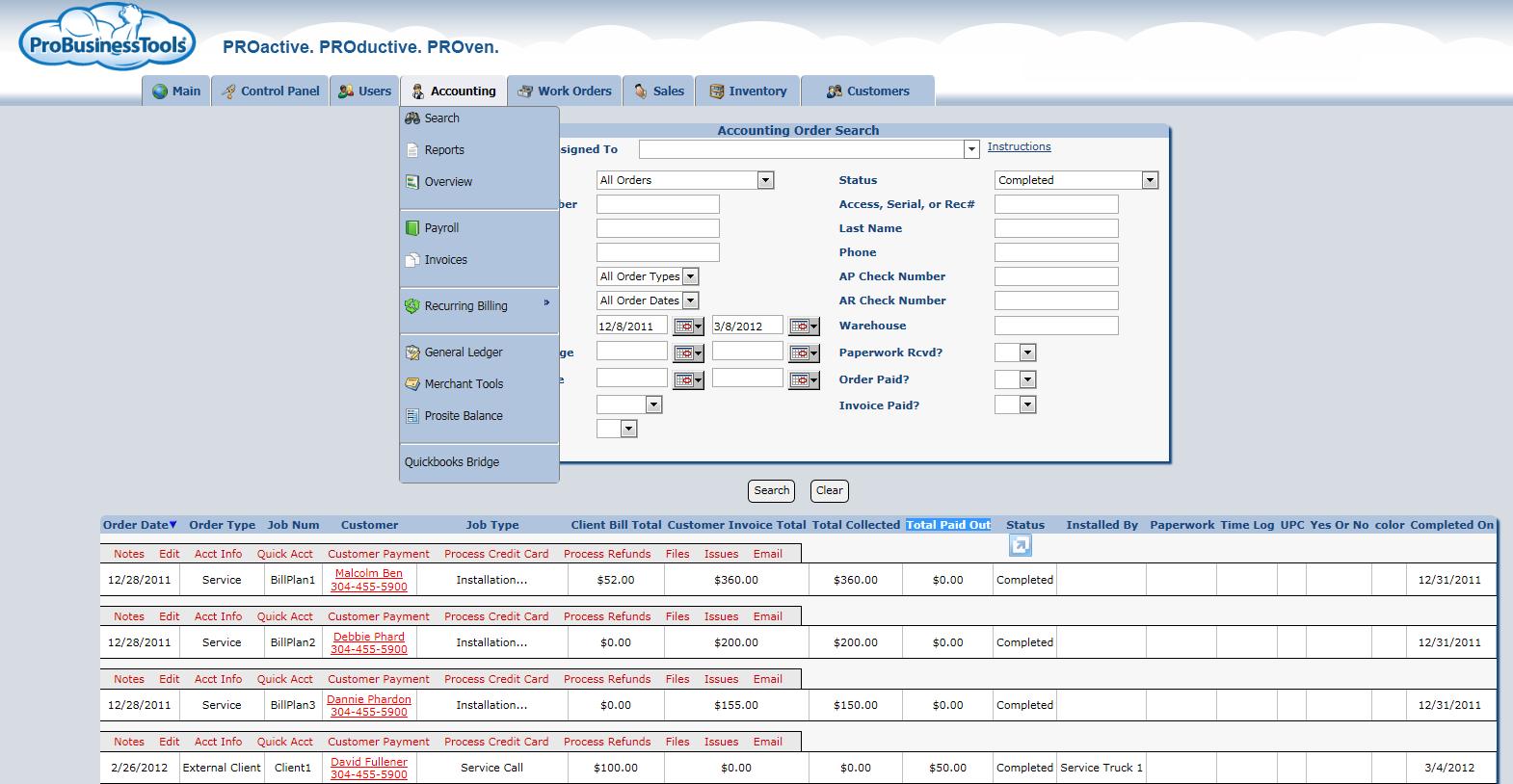 ProBusinessTools - Accounting Options