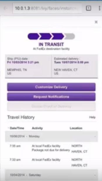 Mobile shipping status