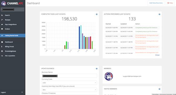 ChannelApe dashboard screenshot