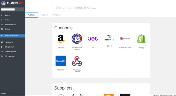 ChannelApe channel management screenshot