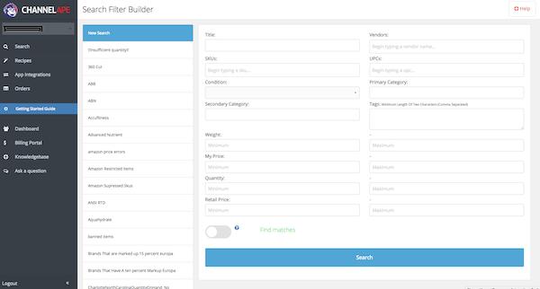 ChannelApe search filter builder screenshot