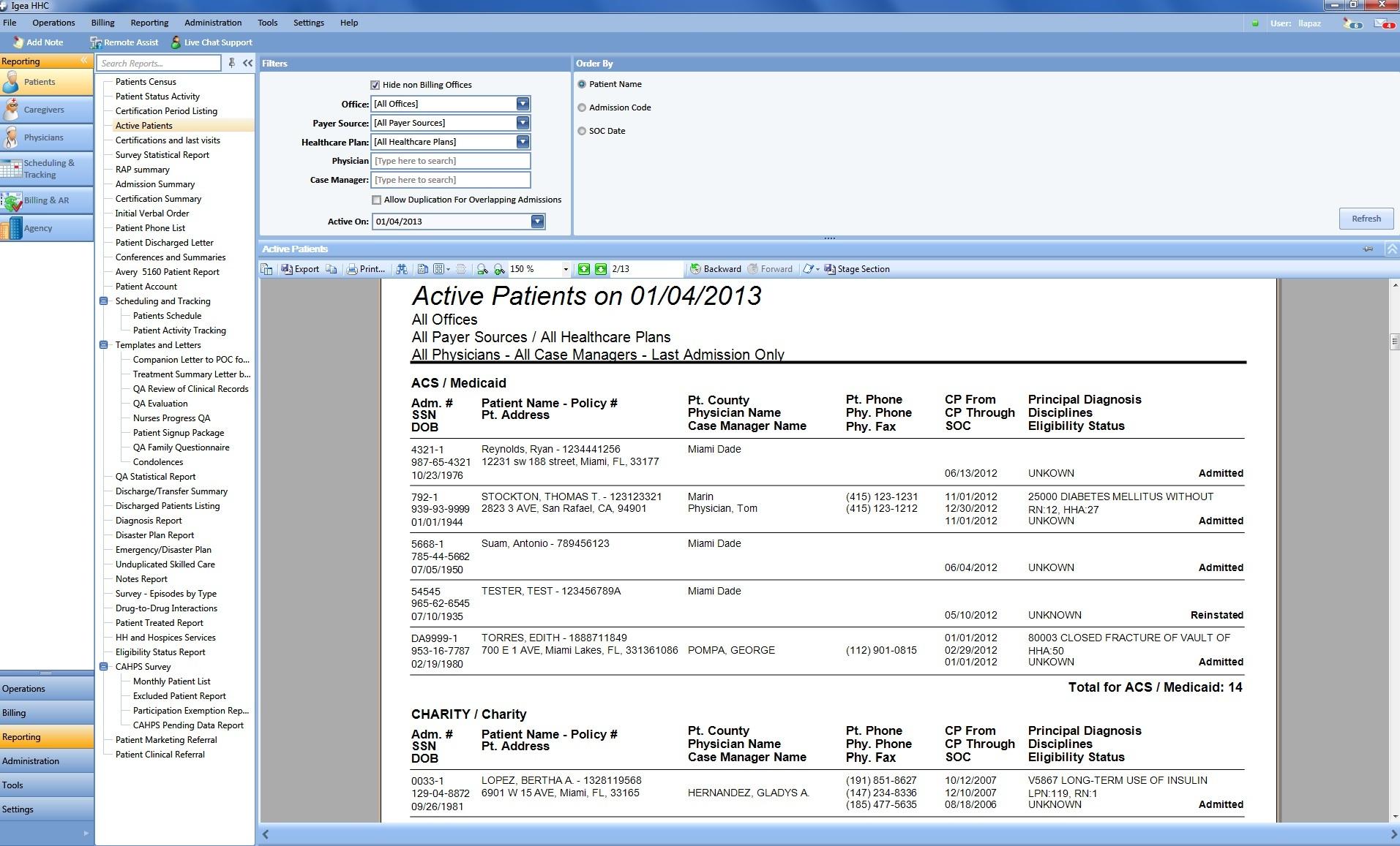 Patient database