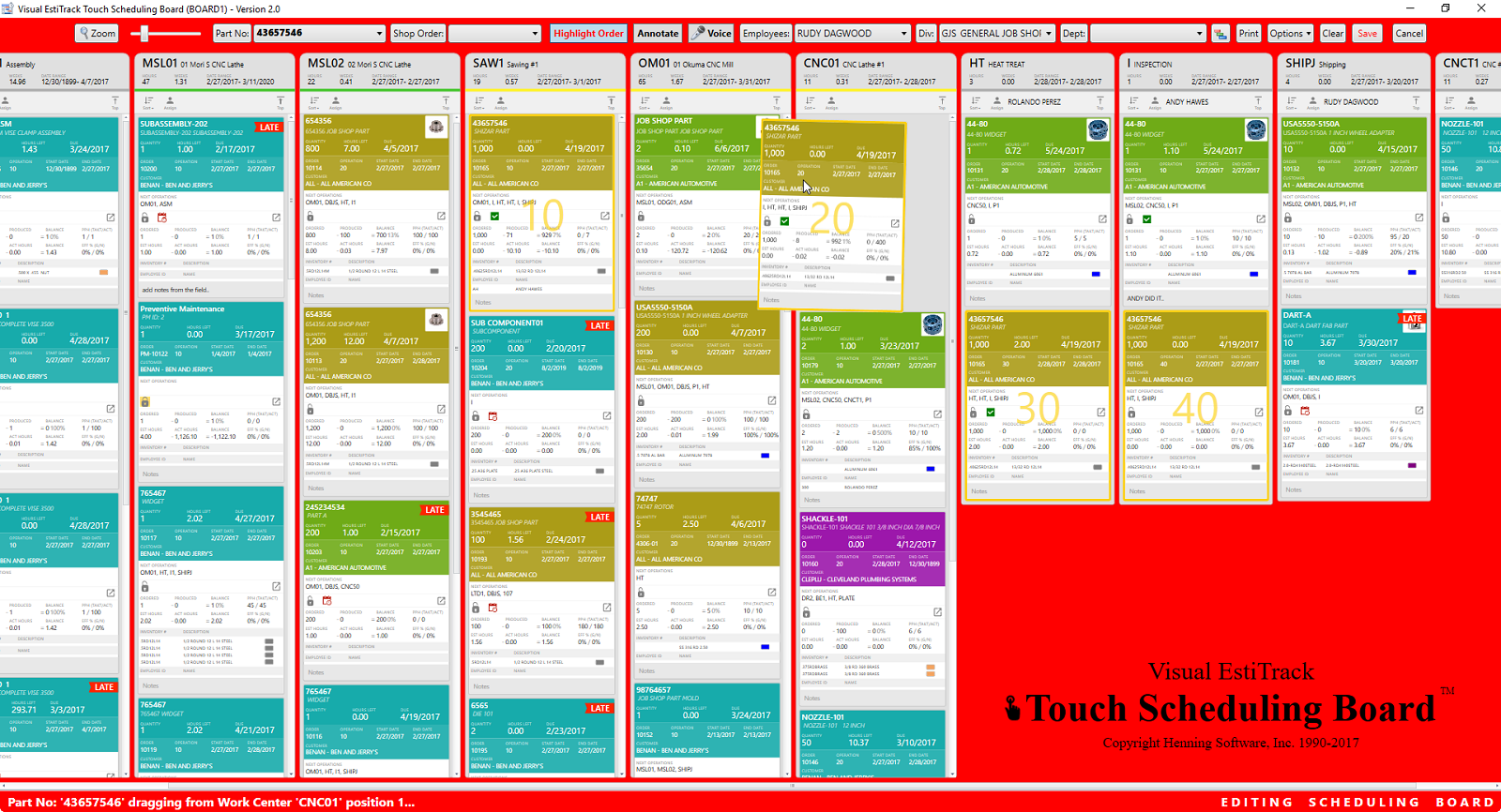 Henning Visual EstiTrack ERP - Touch scheduling board