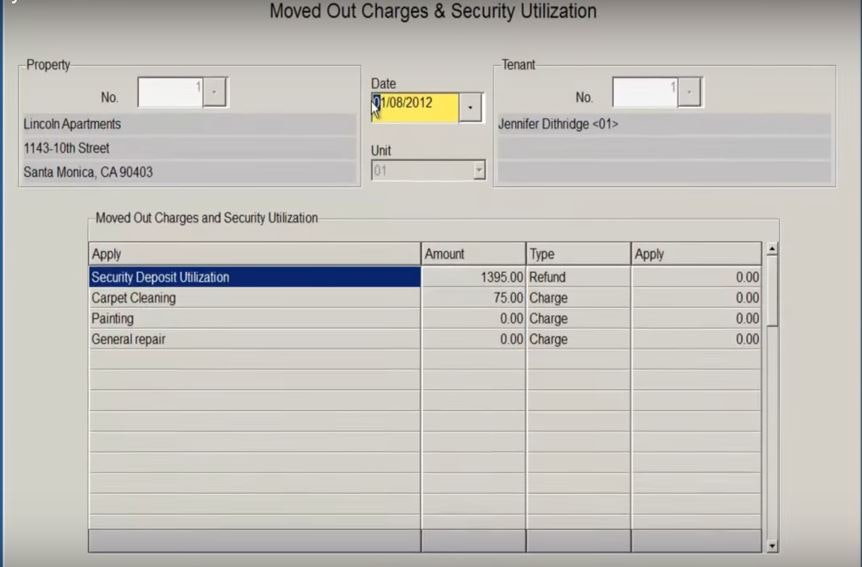 Moved out charges and security utilization