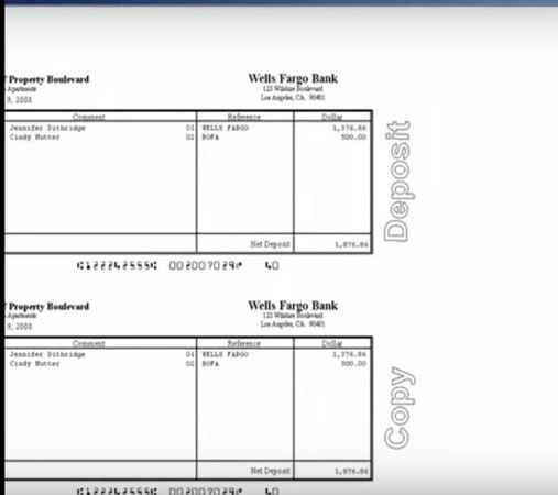 Payment deposit slip