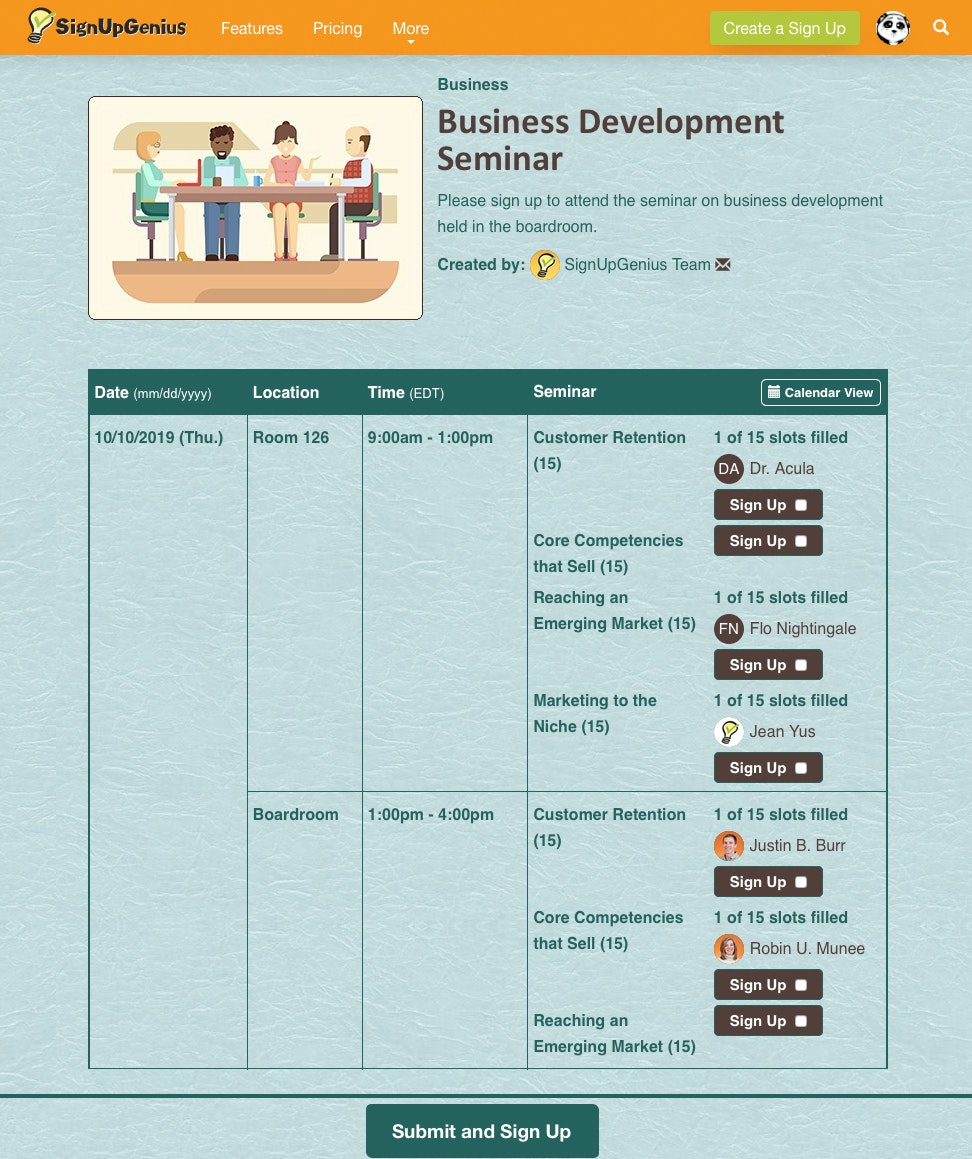 Business sign-up example
