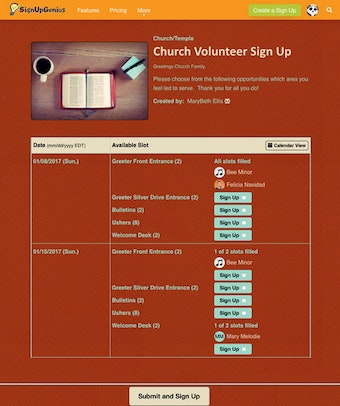Church sign-up example
