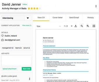 Sample candidate profile