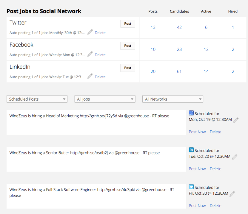Post job openings on social media platforms