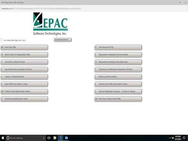 ePAC status board