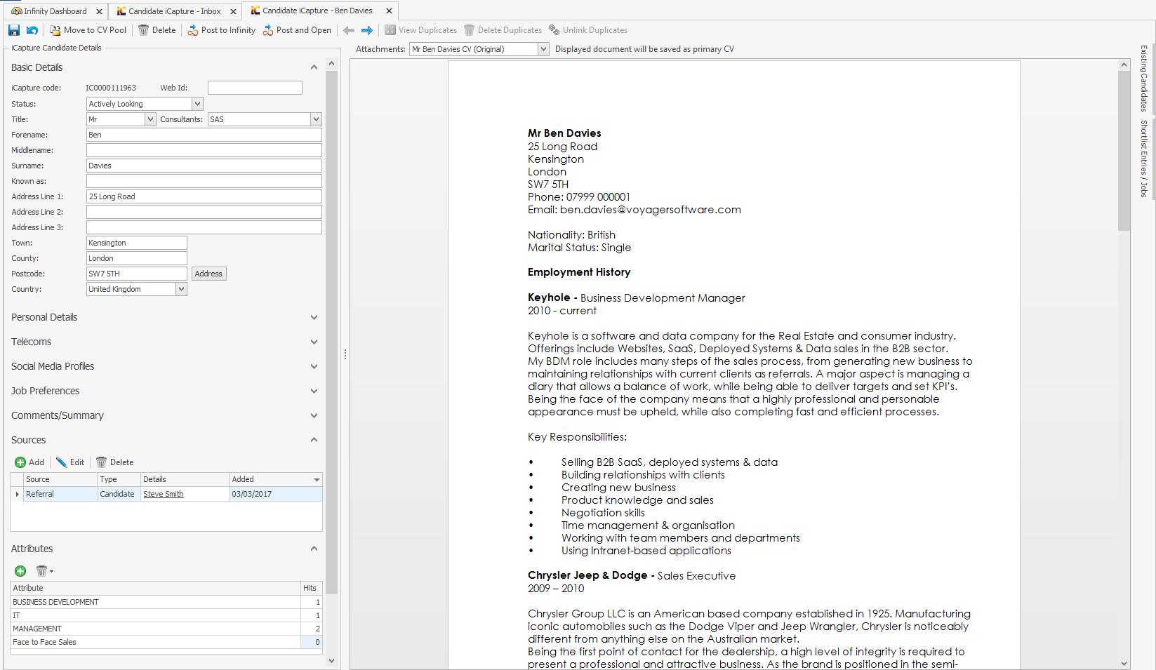 Resume entry