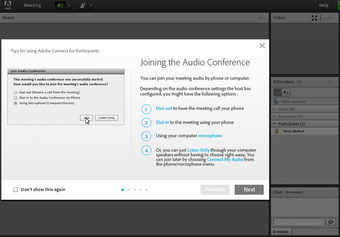 Joining the audio conference