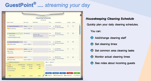 Housekeeping cleaning schedule
