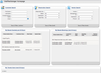 Web manager homepage