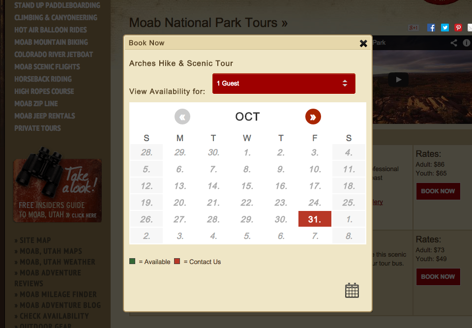 Website booking calendar