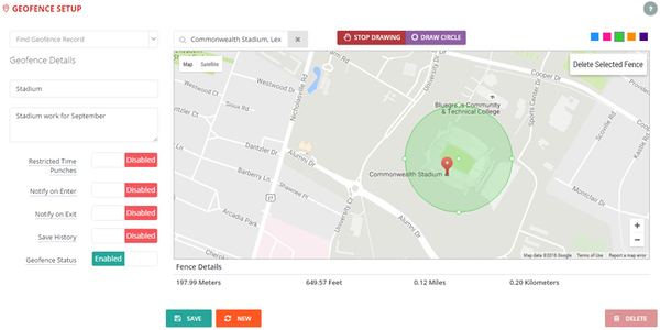 On-Time Web geofence setup