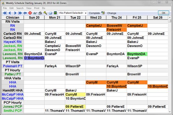 Weekly schedule screen