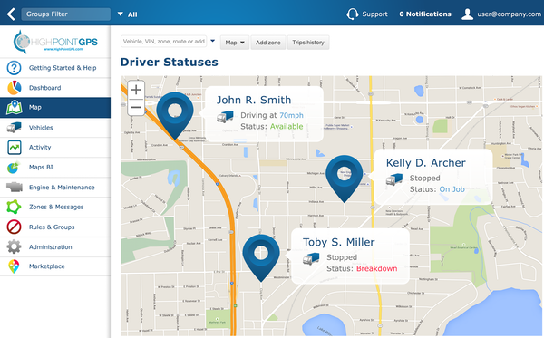 Fleet GPS tracking by High Point GPS driver status