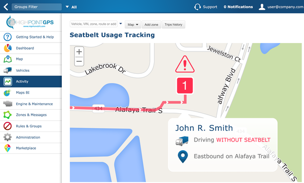 Fleet GPS tracking by High Point GPS seatbelt usage tracking