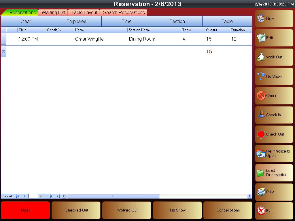 Reservation screenshot